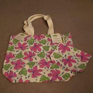 Jana Lam Hawaii Floral Hibiscus Tote Pouch SET